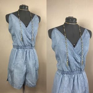 New Topshop Chambray Denim Overall Romper Jumpsuit